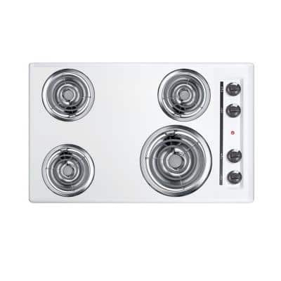 30 in. Coil Electric Cooktop in White with 4-Elements