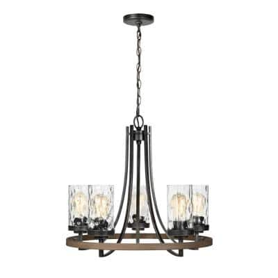 Gaston 5-Light Weathered Gray Rustic Farmhouse Wagon Wheel Chandelier with Distressed Oak Accents and Water Glass Shades