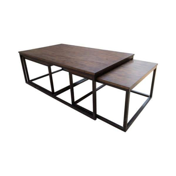 Alaterre Furniture Arcadia 54 In Antiqued Mocha Black Large Rectangle Wood Coffee Table With Nesting Tables Anar1175 The Home Depot