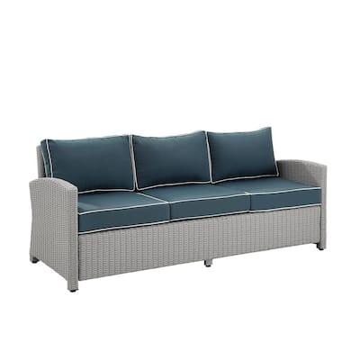 Bradenton Gray Wicker Outdoor Sofa with Navy Cushion