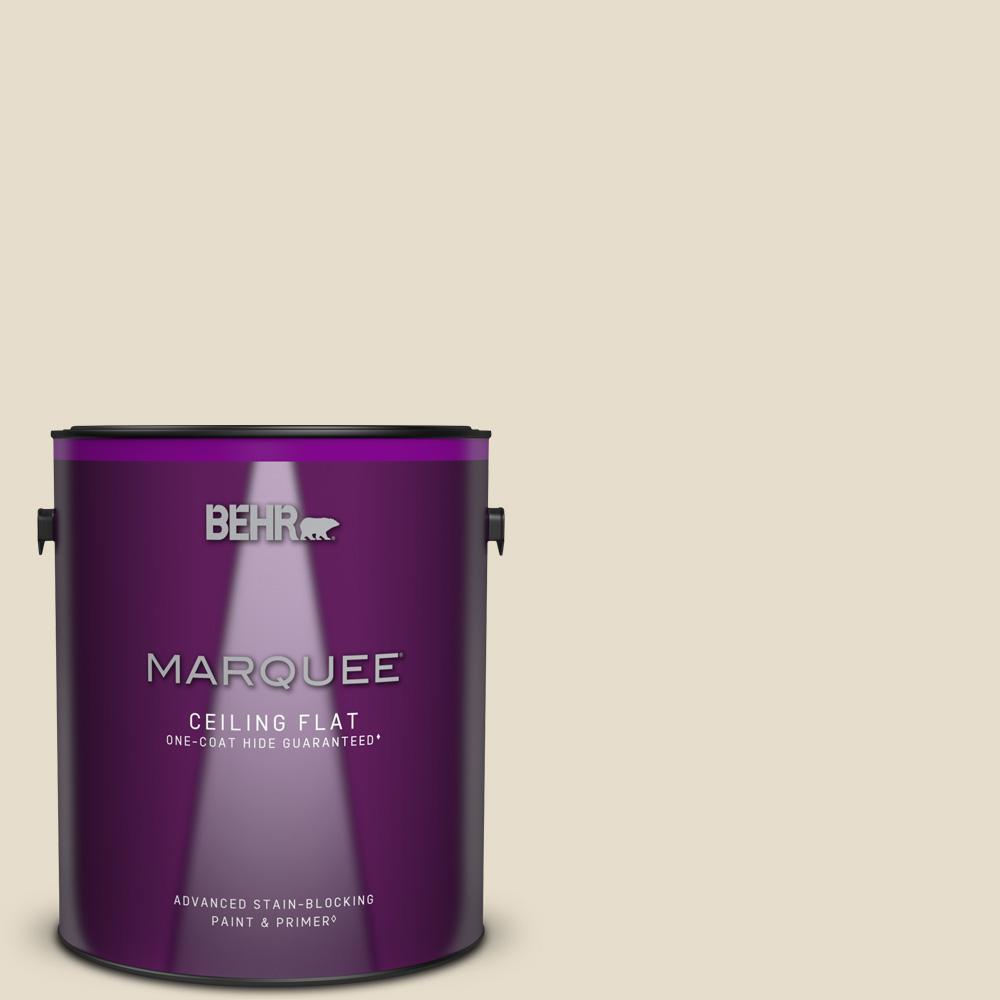 1 gal. #MQ3-12 Ivory Paper One-Coat Hide Ceiling Flat Interior Paint & Primer