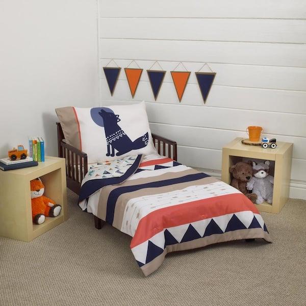 Aztec 4 Piece Toddler Bedding Set, Full Size Bedding For Toddler Boy