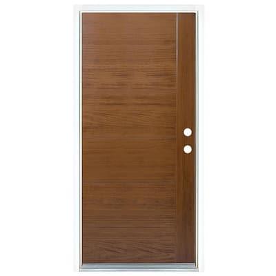 36 in. x 80 in. Contemporary Teak Medium Oak Left-Hand Inswing Fiberglass Prehung Front Door