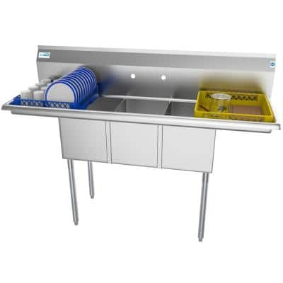 60 in. Freestanding Stainless Steel 3 Compartments Commercial Sink with Drainboard