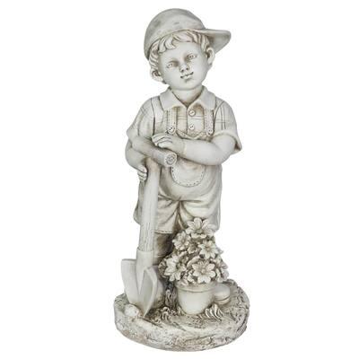 Solar Gardening Boy Statue