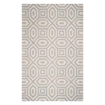 Bernadette Grey 5 ft. x 8 ft. Rectangle Geometric Wool Indoor/Outdoor Area Rug