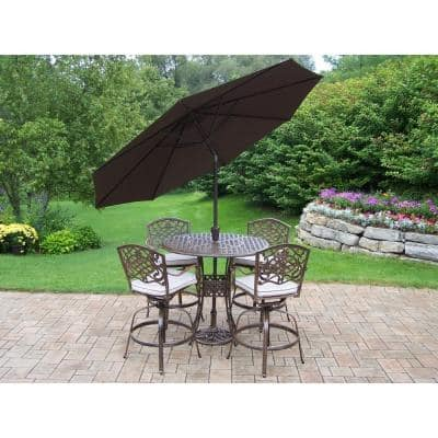 Elite Mississippi Cast Aluminum 5-Piece Swivel Patio Bar Set with Solid Cushions, Tilting Umbrella and Stand