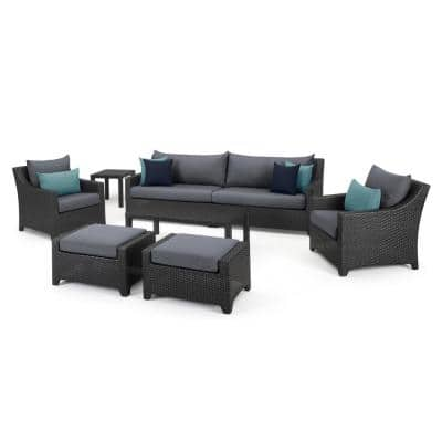 Deco 8-Piece All-Weather Wicker Patio Sofa and Club Chair Seating Set with Acrylic Gray Cushions