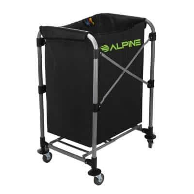 4-Bushel Black Collapsible Vinyl Laundry Cleaning Cart with Wheels