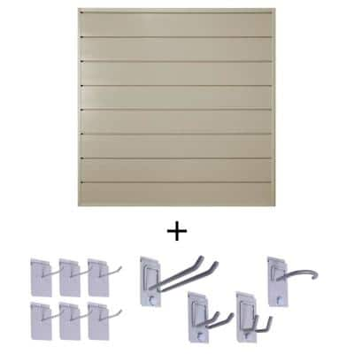 6 in. Starter Bundle 48 in. H x 48 in. W PVC Slat Wall Panel Set with Locking Hook Kit in Sandstone (10-Piece)