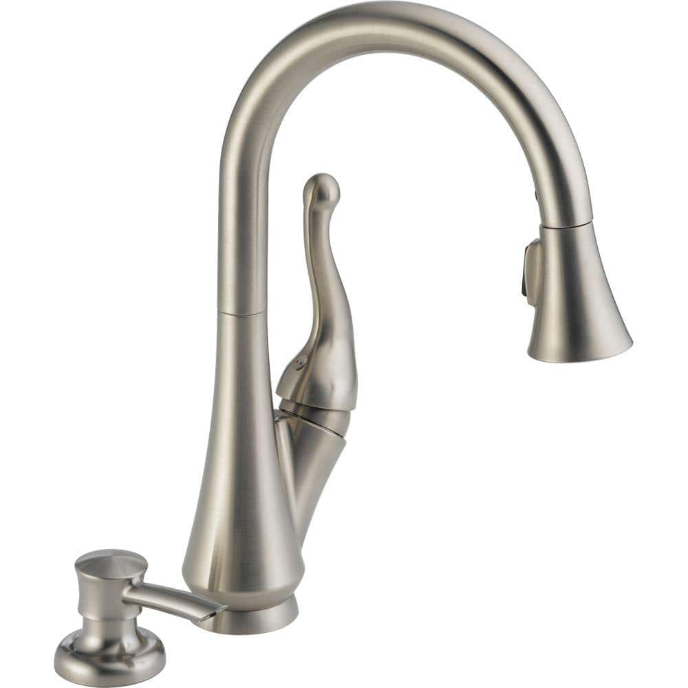 Delta Talbott Single Handle Pull Down Sprayer Kitchen Faucet With Soap Dispenser In Stainless Featuring Magnatite Docking 16968 Sssd Dst The Home Depot