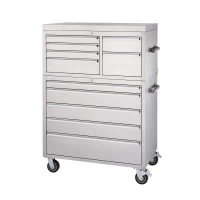 43 in. 11-Drawer Stainless Steel Rolling Tool Chest Combo
