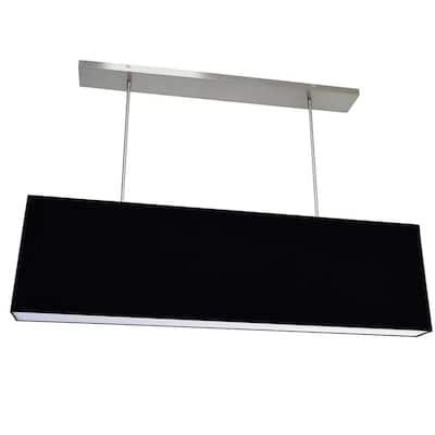 Oversized Drum 4-Light Black Pendant with Fabric Shades