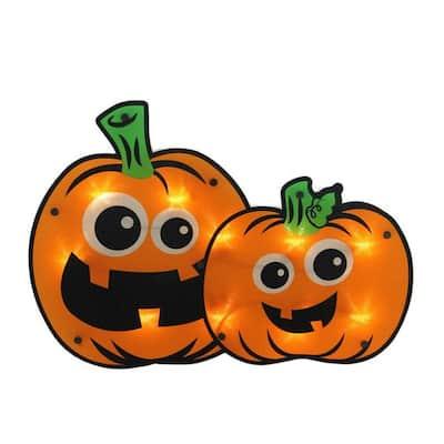 11.5 in. Lighted Jack-O-Lantern Pumpkin Couple Window Silhouette
