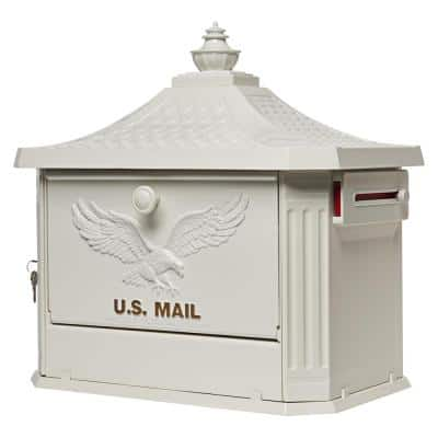 Hamilton Premium, Large, Locking, Aluminum, Post Mount Mailbox, White