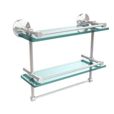 Allied Brass Monte Carlo 16 In L X 12 In H X 5 In W 2 Tier Clear Glass Bathroom Shelf With Towel Bar In Polished Chrome Mc 2tb 16 Gal Pc The Home Depot