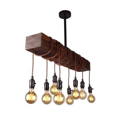 8-Light Brown Pendant with Down Rod Mounted