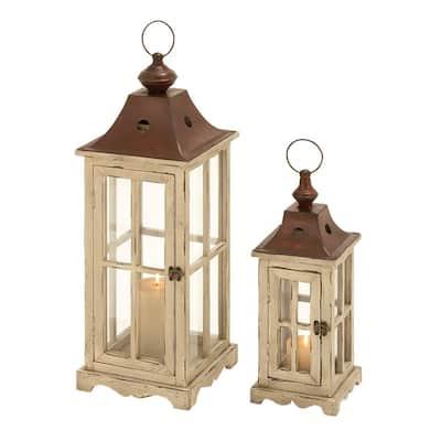 Cream Wood Coastal Candle Lantern (Set of 2)