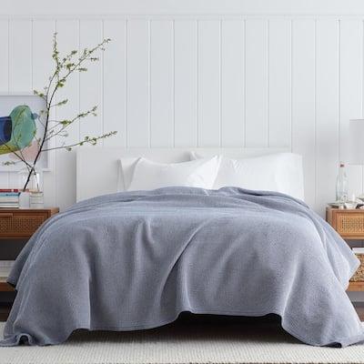 Ellington Navy Cotton Full Woven Blanket