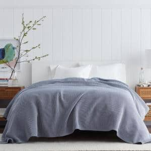 Ellington Navy Cotton King Woven Blanket
