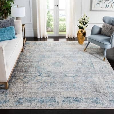 Dream Gray/Blue 7 ft. x 7 ft. Square Distressed Border Area Rug