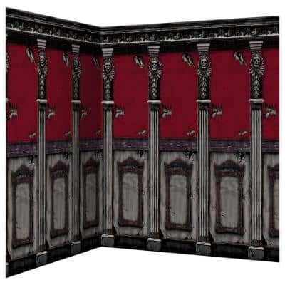 48 in. Halloween Gothic Mansion Scene Setter Room Roll (2-Pack)