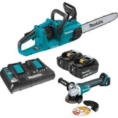 14 in. 18-Volt X2 (36V) LXT Lithium-Ion Brushless Cordless Chain Saw Kit (5.0Ah) and Brushless Angle Grinder