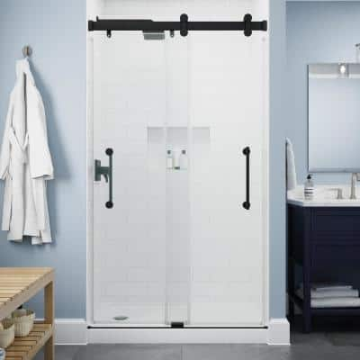 Paxos 48 in. W x 76 in. H Sliding Frameless Shower Door in Matte Black with 5/17 in. (8 mm) Clear Glass