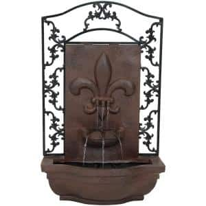 French Lily Resin Iron Solar-On-Demand Outdoor Wall Fountain