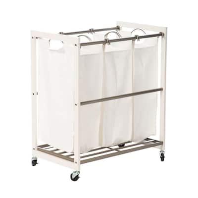 Mobile 3-Bag White Laundry Cart
