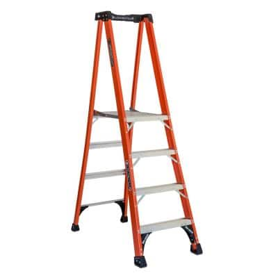 4 ft. Fiberglass Pinnacle PRO Platform Ladder with 375 lbs. Load Capacity Type IAA Duty Rating
