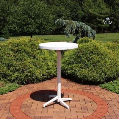All-Weather White Round Plastic Indoor/Outdoor Foldable Bar Table