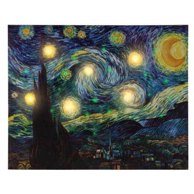 """16 in. x 20 in.""""Starry Night"""" LED Lighted Canvas Art"""