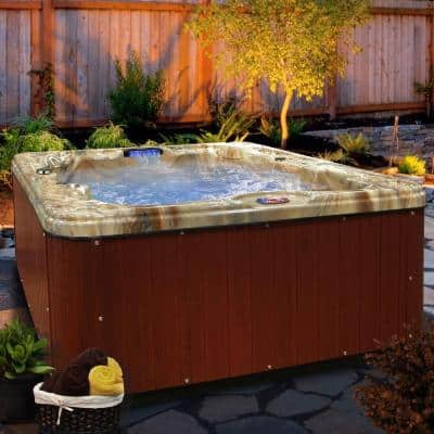 6-Person 30-Jet Premium Acrylic Lounger Spa Hot Tub with Backlit LED Waterfall