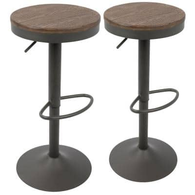 Dakota Grey and Brown Adjustable Bar Stool (Set of 2)