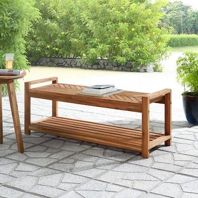 Chevron Acacia Wood Brown Outdoor Patio Storage Bench