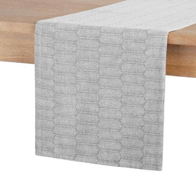 14 in. x 72 in. Grey Marth Stewart Honeycomb Rectangle Table Runner, Modern Farmhouse