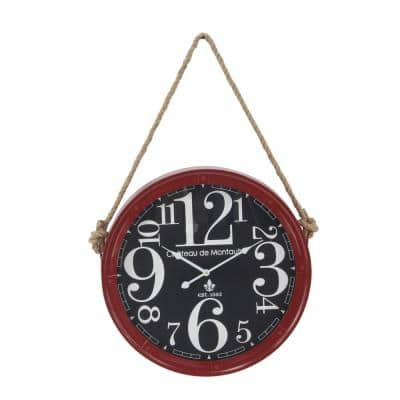 Multi-Colored Contemporary Wall Clock with Rope Hanger