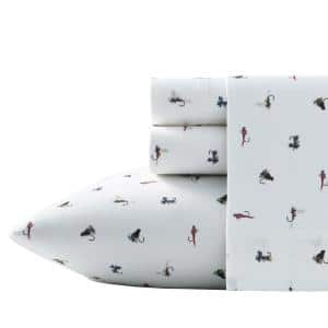 Fishing Flies 4-Piece Multi-Colored Wildlife 200-Thread Count Cotton Percale King Sheet Set