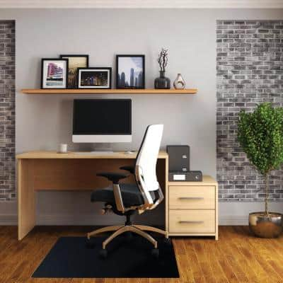 Advantagemat® Black Vinyl Rectangular Chair Mat for Hard Floor - 48 in. x 60 in.