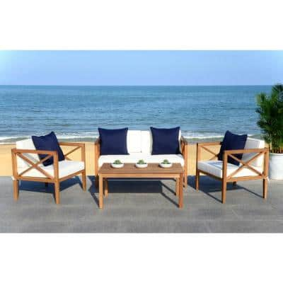 Nunzio Natural Brown 4-Piece Wood Patio Conversation Set with White/Navy Cushions