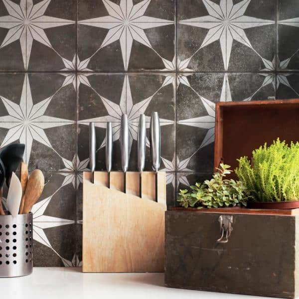 Merola Tile Kings Star Night 17 5 8 In X 17 5 8 In Ceramic Floor And Wall Fpestrni The Home Depot