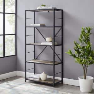 63 in. Gray Wash/Black Metal 4-shelf Etagere Bookcase with Open Back