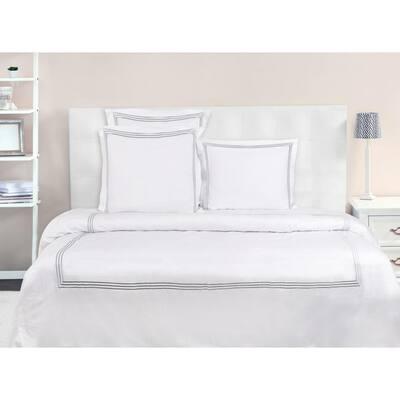 A1HC 3-Pieces Dark Grey Embroidered GOTS Certified Organic Cotton King Duvet Set