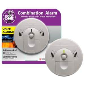Code One Battery Operated Combination Smoke and Carbon Monoxide Detector with Ionization Sensor and Voice Alarm