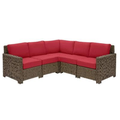 Laguna Point 5-Piece Brown Wicker Outdoor Patio Sectional Sofa Set with CushionGuard Chili Red Cushions