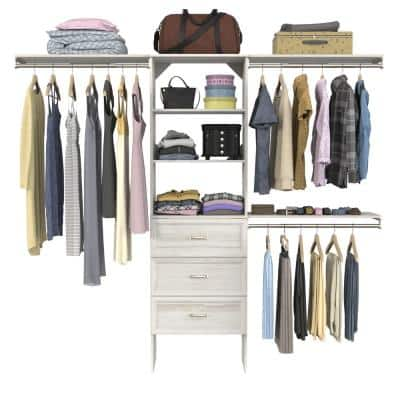 Style+ 73.1 in W - 121.1 in W Bleached Walnut Traditional Style Basic Plus Mount Wood Closet System Kit