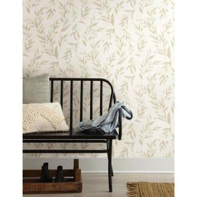 Olive Branch Beige Floral Paper Pre-Pasted Strippable Wallpaper Roll (Covers 56 Sq. Ft.)