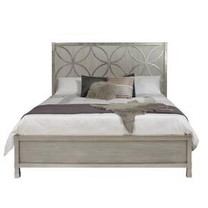 Silverleaf Quatrefoil Grey King Bed