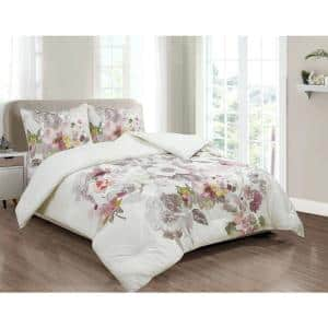 Brighton Grey and Blush Pink Watercolor Floral 100% Cotton King 3-Piece Comforter and Sham Set